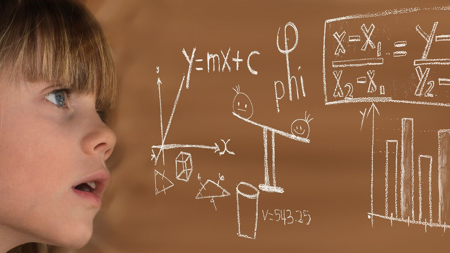 enfant au tableau mathématiques